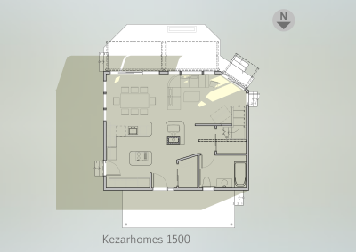 1st floor plan (sun exposure 22aug 3pm)